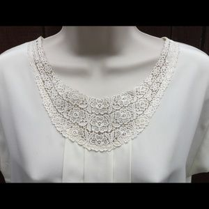 Lace Detailed,Cream Colored Blouse w/Back Buttons